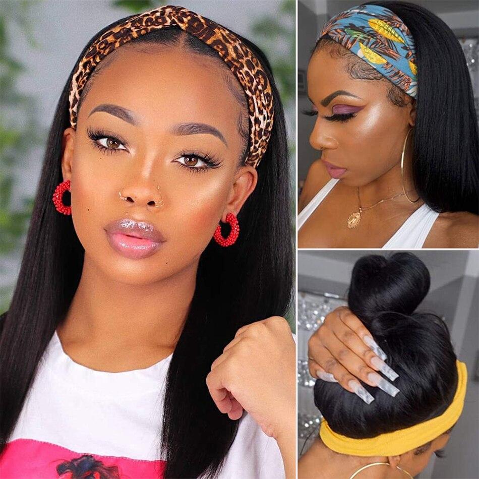 180% Density Headband Wig Human Hair Peruvian Straight Human Hair Pre-Attached Scarf Machine Made Wig For Black Women Scarf Wig